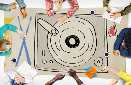multi media: Music Multi Media Turntable Entertainment Concept Stock Photo