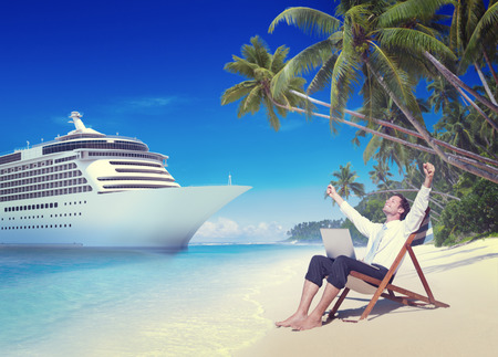 vacation: Businessman Relaxation Vacation Outdoors Beach Concept Stock Photo