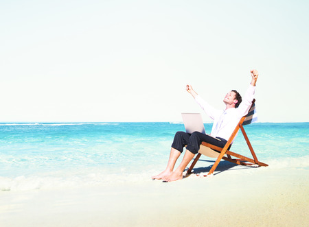 cheerful businessman: Businessman Working Success Beach Vacation Concept