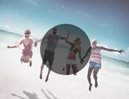 group shot: Copy Space Frame Summer Vacation Holiday Concept Stock Photo