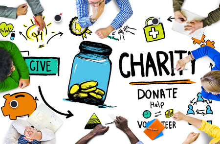 charity work: People Discussion Meeting Give Help Donate Charity Concept Stock Photo