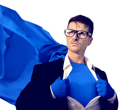 empresarios: Superhero Empresario éxito profesional Empleado administrativo Concepto