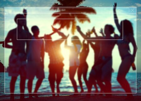 partying: Silhouettes of Diverse Multiethnic People Partying Stock Photo