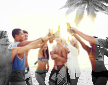 people partying: Diverse Multiethnic People Partying and Toasting Glasses