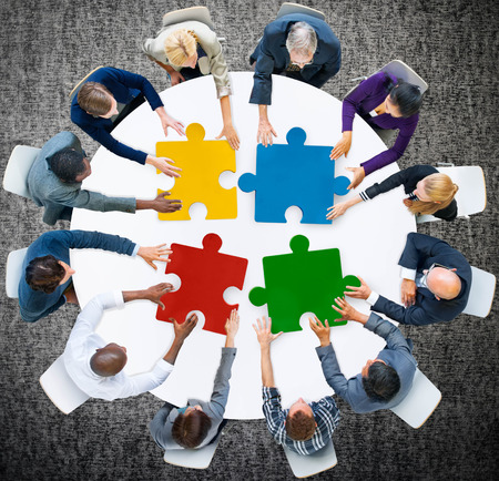 collaboration: Business People Jigsaw Puzzle Collaboration Team Concept