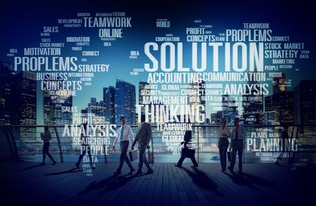 estrategia: Soluci�n Resolver Problema Estrategia Visi�n Decisi�n Concept Foto de archivo