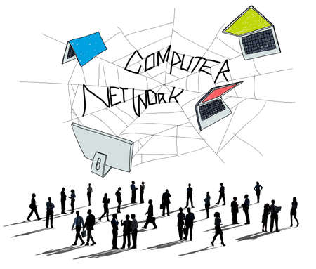 network concept: Computer Network Web Sketch Connection Concept Stock Photo