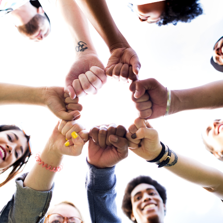 human hands: Friends Friendship Fist Bump Togetherness Concept Stock Photo