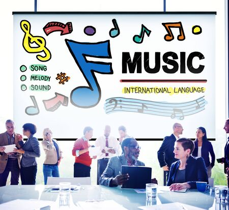 office team: Music Notes Song Entertainment Media Concept