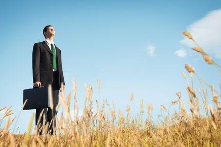 depress: Businessman Vision Thinking Planning Depress Concept Stock Photo