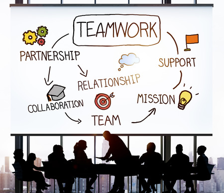 team business: Team Corporate Teamwork Collaboration Assistance Concept Stock Photo