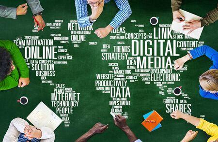 digital media: Digital Media Connecting Content Network Technology Concept