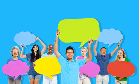 networking people: Diversity People Holding Colorful Speech Bubbles Concept