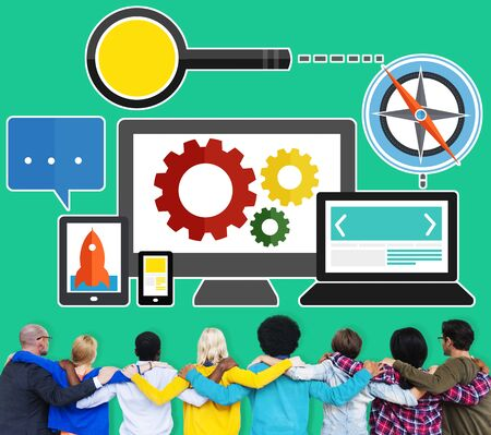 marketing team: Digital Device Computer Connecting Internet Online Concept