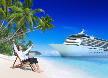 jornada de trabajo: Concepto Empresario vacaciones Descanso Aire libre Beach Foto de archivo