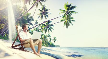 Man Laptop Beach Summer Sea Concept