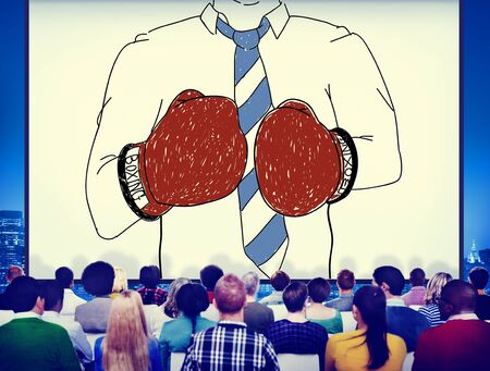 Businessman Boxing Conpetition Fighting Sport Agressive Concept