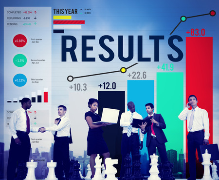 evaluate: Results Effect Achievement Assessment Evaluate Concept Stock Photo