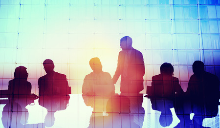 business connection: Silhouette Global Business People Meeting Concept Stock Photo