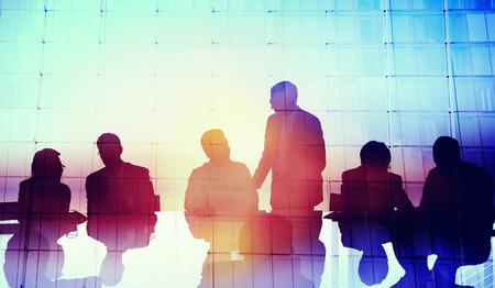 reuniones empresariales: Silueta Negocio global Personas Reuni�n Concepto