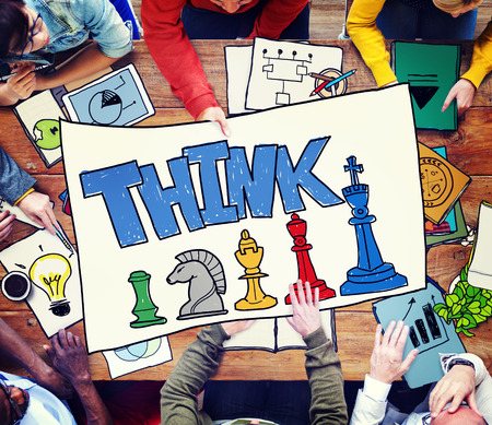 People with the word THINK and strategy concept Stok Fotoğraf