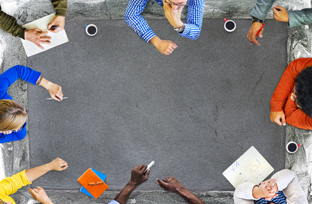 Top view of people in a meeting with copy space