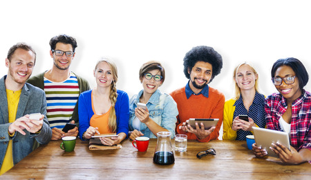 business lifestyle: Diversity Casual Team Meeting Brainstorming Cheerful Concept Stock Photo