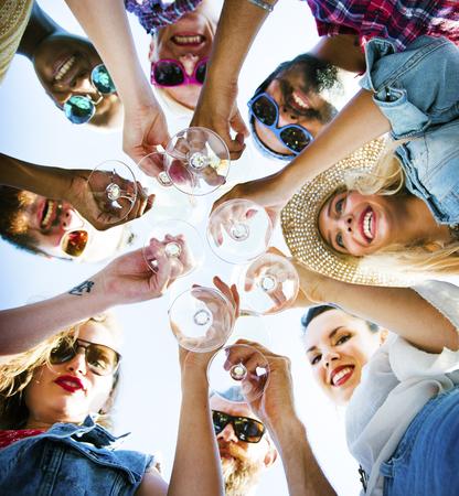 outdoor activities: Beach Cheers Celebration Friendship Summer Fun Concept Stock Photo