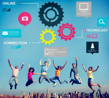 functionality: Team Functionality Industy Teamwork Connection Technology Concept