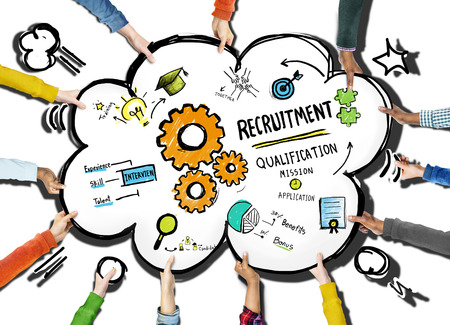 opportunity concept: Diversity Hands Recruitment Search Opportunity Concept