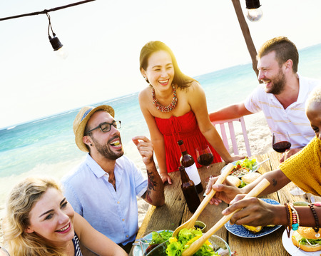 party food: Friends Dining Summer Beach Party Cheerful Concept