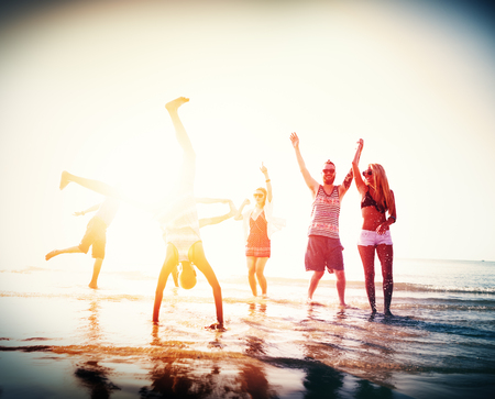 youth group: Friendship Freedom Beach Summer Holiday Concept