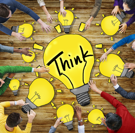 new ideas: Aerial View People Ideas Innovation Motivation Think Concepts Stock Photo
