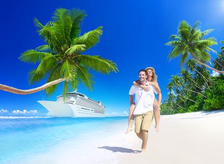 Sweet Couple Relax Summer Beach Concept