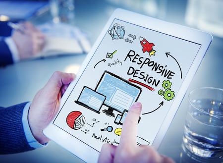 レスポンシブ デザイン インターネット Web オンライン デバイス技術コンセプト 写真素材