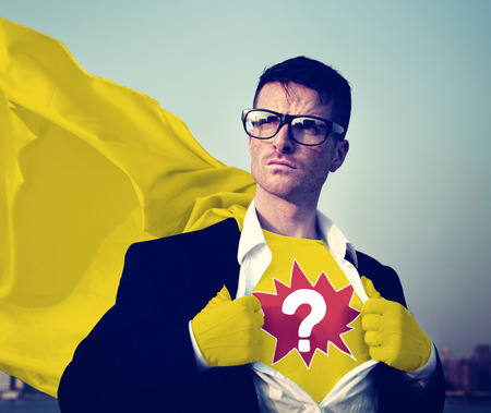 empowerment: Question Mark Strong Superhero Success Professional Empowerment Stock Concept