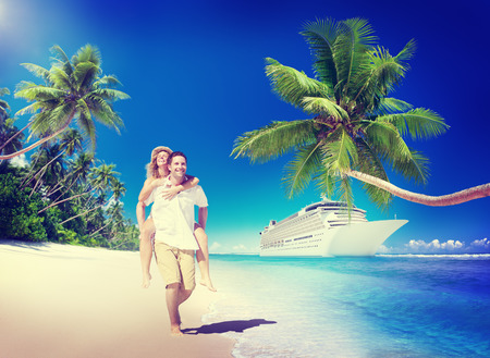 cruise travel: Sweet Couple Relax Summer Beach Concept