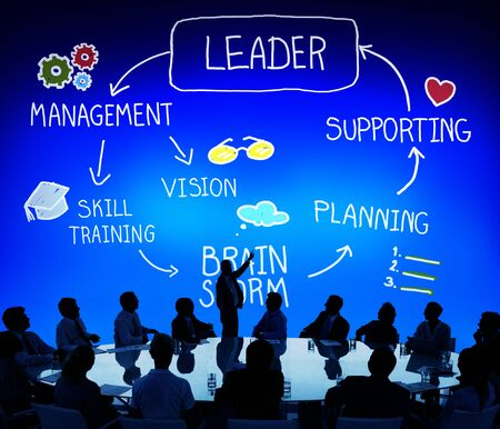 corporate group: Leader Leadership supporting Management Vision Concept Stock Photo
