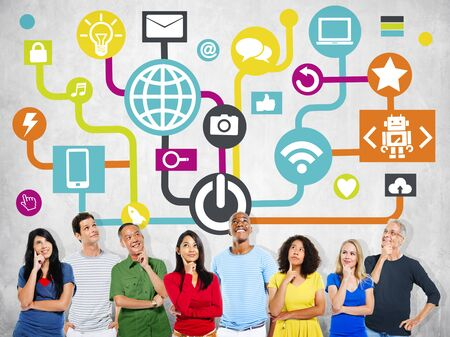 global thinking: Global Communications Social Networking Planning Thinking Online Concept Stock Photo