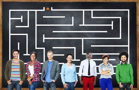 People with a maze in the background