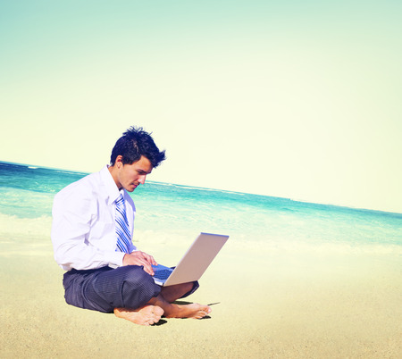 alone person: Businessman Business Travel Working Beach Concept