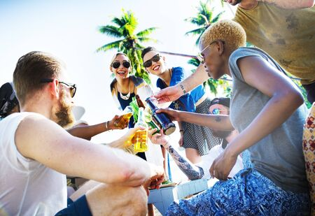 fun day: Friends Summer Beach Party Cheers Concept