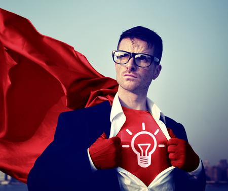 human energy: Strong Superhero Businessman Ideas Concepts