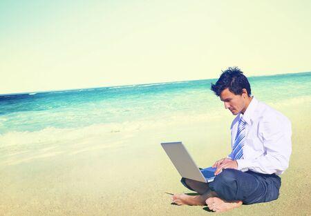 business travel: Businessman Business Travel Working Beach Concept
