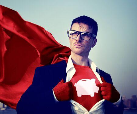 empowerment: Piggybank Strong Superhero Success Professional Empowerment Stock Concept Stock Photo