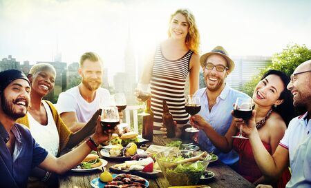 city scene: Friend Friendship Dining Celebration Hanging out Concept