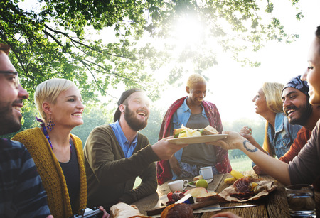 celebration: Diverse People Luncheon Outdoors Food Concept
