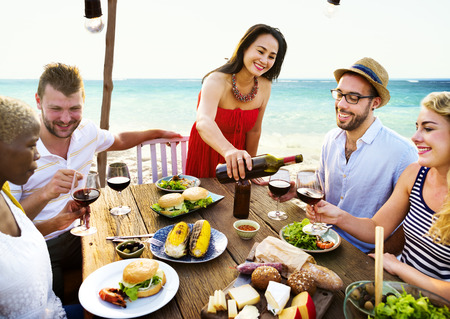 sea food: Friends Dining Summer Beach Party Cheerful Concept