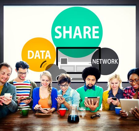 network concept: Share Data Network Sharing Social Network Connection Concept