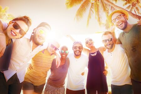 multi ethnic groups: Friends Friendship Leisure Vacation Togetherness Fun Concept